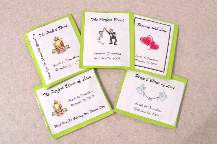 Wedding Favor Bag Labels : Details about 105 Personalized Wedding Tea Bag Favor Labels