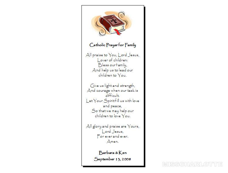 56 Personalized Wedding Bookmark Catholic Family Prayer