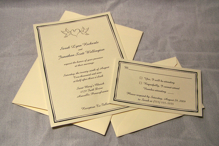 100 Wedding Invitations: 100 Personalized Flat Wedding Invitation Card RSVP