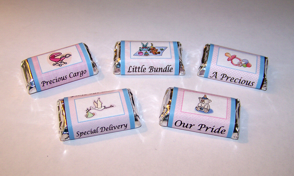 details about 120 personalized baby shower mini candy wrapper favors