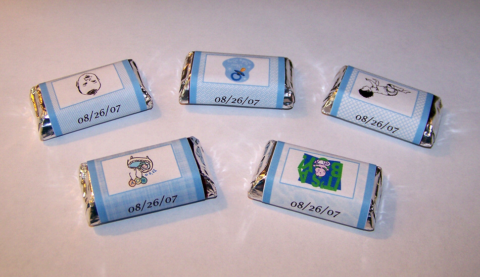 120 Personalized Baby Boy Shower Candy Wrapper Favors