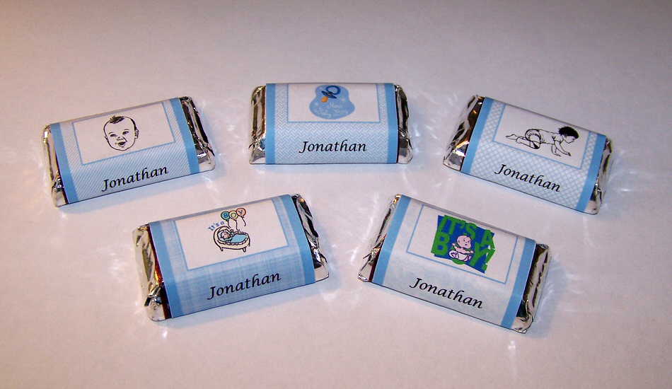 details about 120 personalized baby boy shower candy wrapper favors