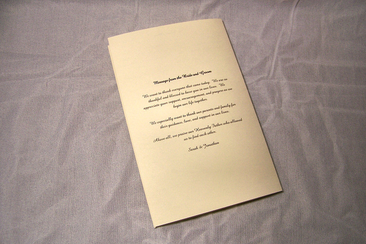 Details about 100 Custom Personalized Folded Wedding Programs