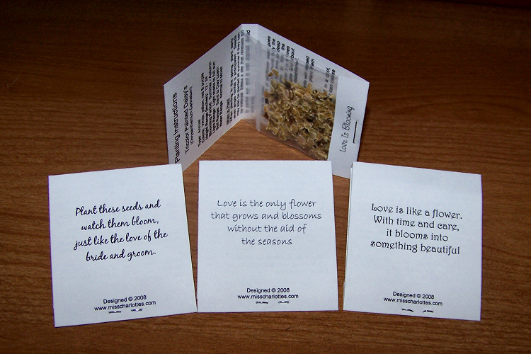 wedding favors and flower seed packets