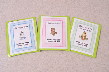 60 Personalized Baby Shower Tea Bag Favor Labels